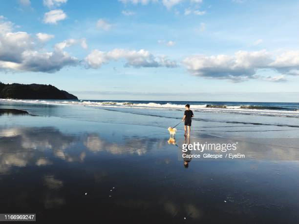 rear view of boy with dog walking on beach against sky - caprice stock pictures, royalty-free photos & images