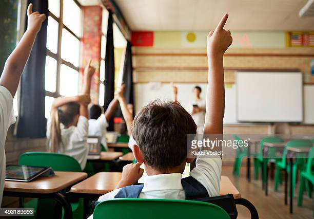 Rear view of boy with raised hand in class