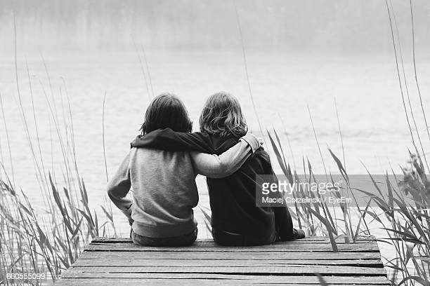 Rear View Of Brothers Sitting With Arms Around On Jetty In Lake