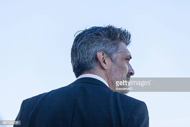 Rear view of businessman looking around