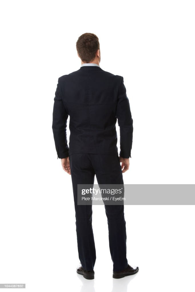 Rear View Of Businessman Standing Against White Background : Foto stock