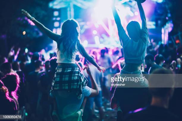 rear view of carefree people having fun on music concert. - music festival stock pictures, royalty-free photos & images