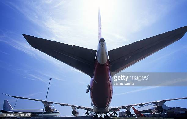 Rear view of commercial airplane, low angle