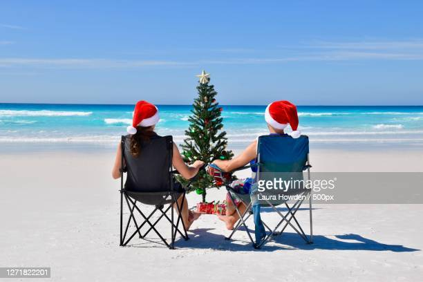 rear view of couple sitting on chairs at beach in front of christmas tree, west beach, australia - images stock pictures, royalty-free photos & images