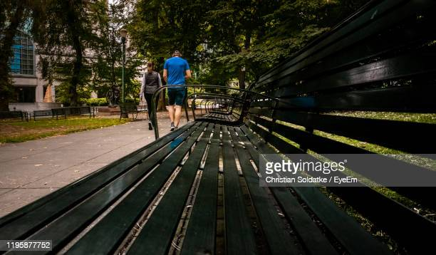 rear view of couple walking on footpath in park - christian soldatke stock pictures, royalty-free photos & images