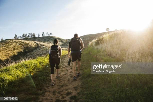 rear view of couple walking on footpath in sunny field - heuvel stockfoto's en -beelden