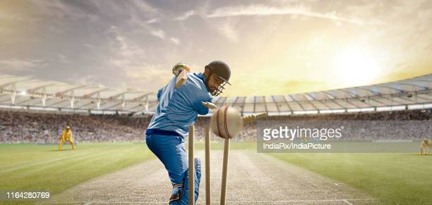 rear view of cricket ball hitting the stumps behind the batsman - cricket field stock pictures, royalty-free photos & images