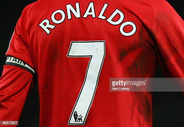 Rear view of Cristiano Ronaldo of Manchester United as he wears the captain's armband during the Barclays Premier League match between Manchester...