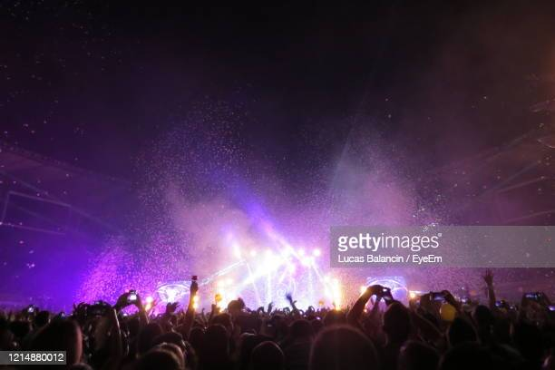 rear view of crowd during music concert at night - popular music concert stock pictures, royalty-free photos & images