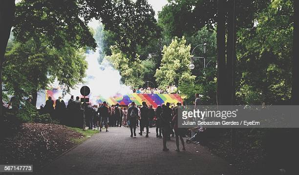 Rear View Of Crowd In Parade At Tiergarten Park