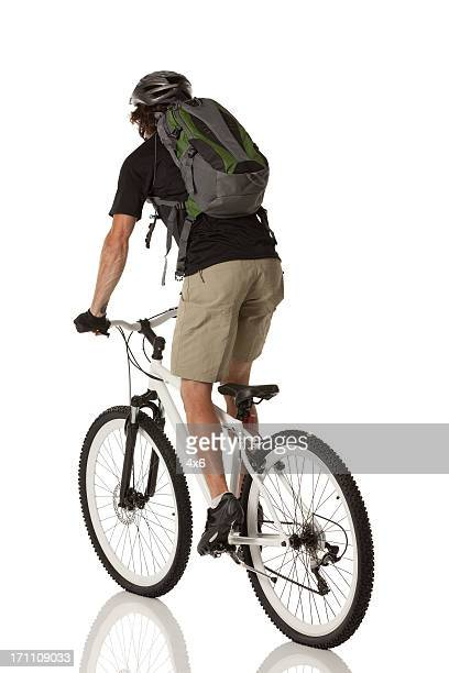 Rear view of cyclist riding a bicycle