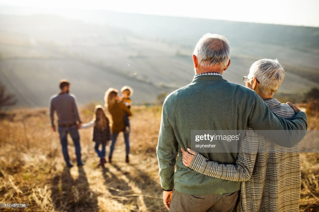 Rear view of embraced senior couple looking at their family in nature. : Stock Photo