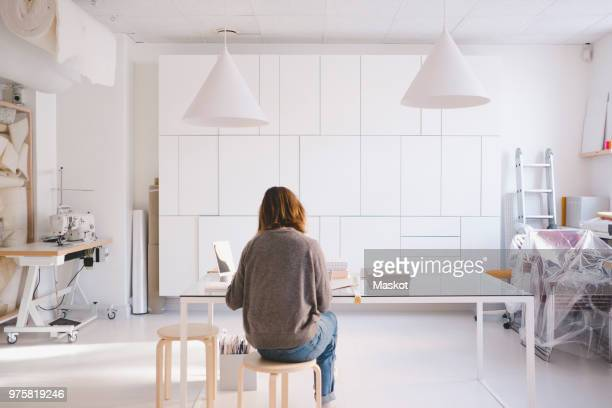 Rear view of entrepreneur working at desk in store