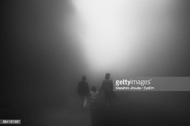 Rear View Of Family Walking On Road In Foggy Weather