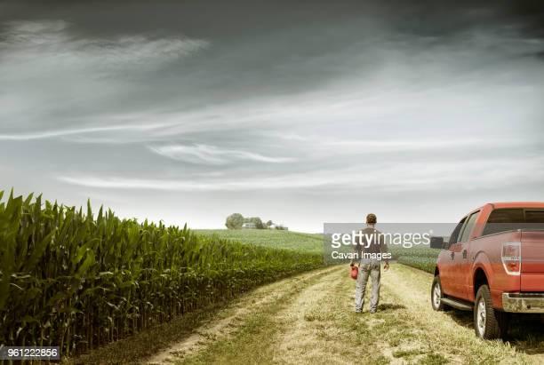 rear view of farmer standing by car on field against cloudy sky - illinois - fotografias e filmes do acervo