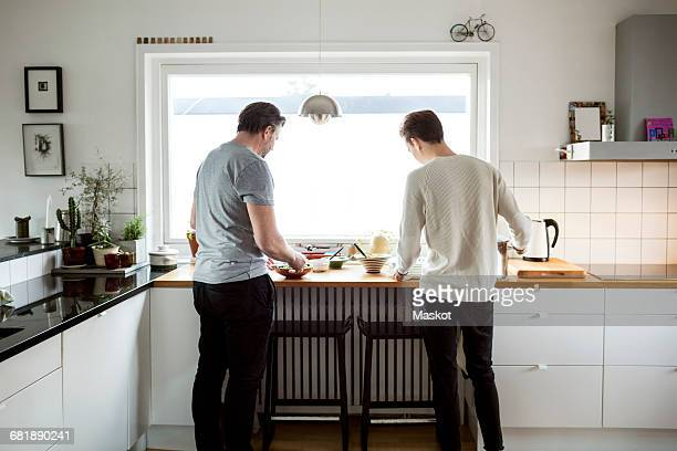 Rear view of father and son preparing food in kitchen at new house