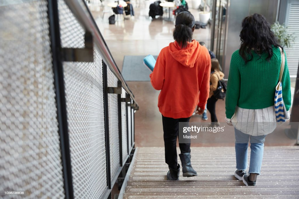 Rear view of female friends moving down on steps in university : Stock Photo
