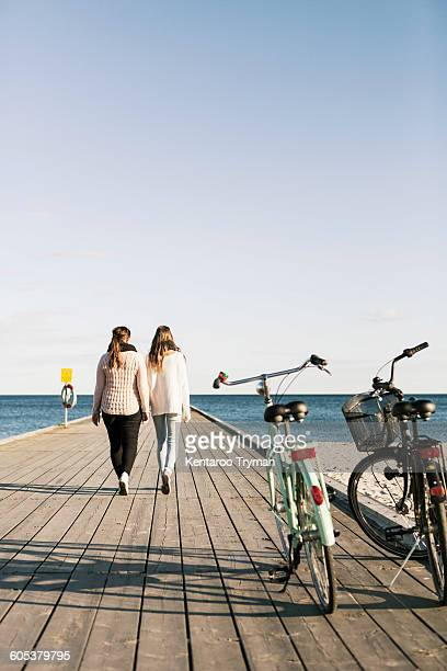Rear view of female friends walking on pier with bicycles in foreground at beach