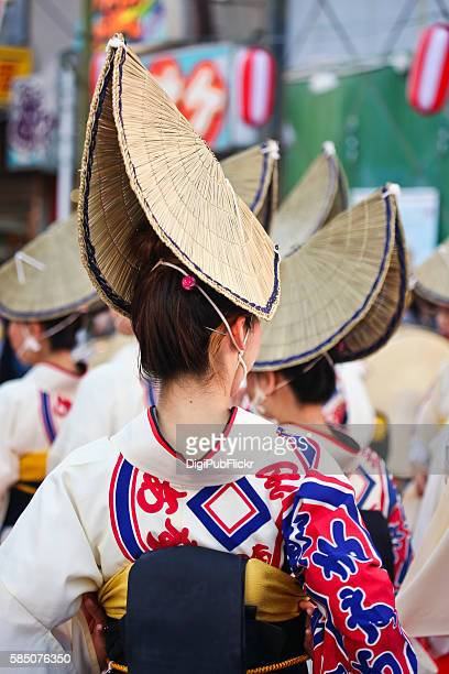 rear view of female parcitipants - awa dance festival stock photos and pictures