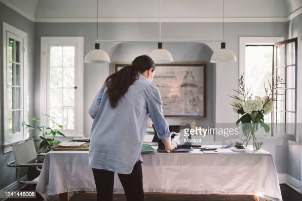 rear view of female professional using laptop in living room at home office - black hair stock pictures, royalty-free photos & images