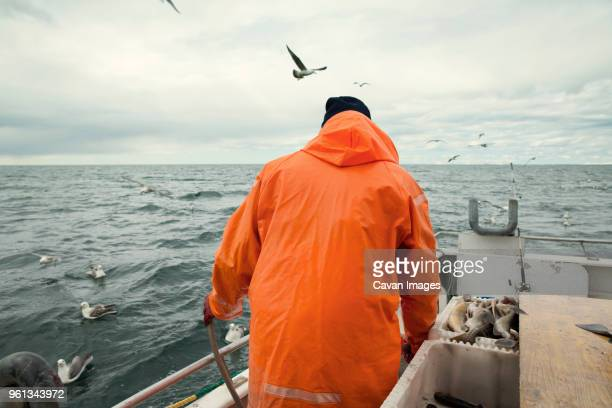 rear view of fisherman standing on fishing boat at sea against cloudy sky - fisherman stock pictures, royalty-free photos & images