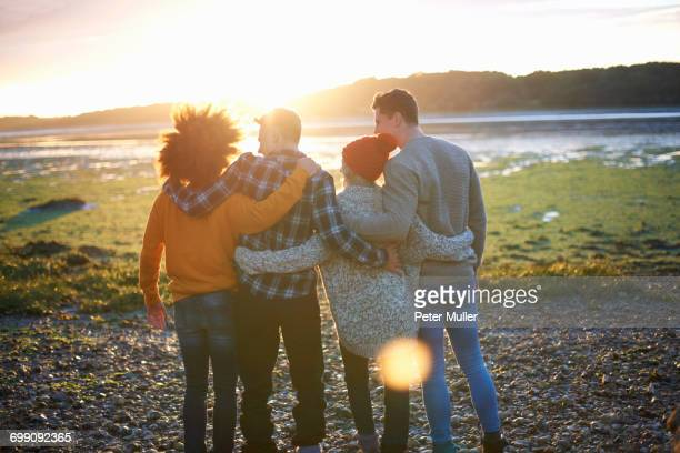 rear view of four adult friends watching sunset over sea - arm around stock pictures, royalty-free photos & images