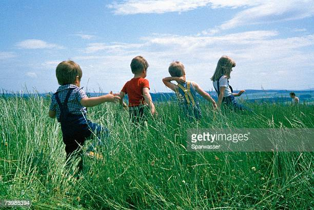 Rear view of four children walking through a field