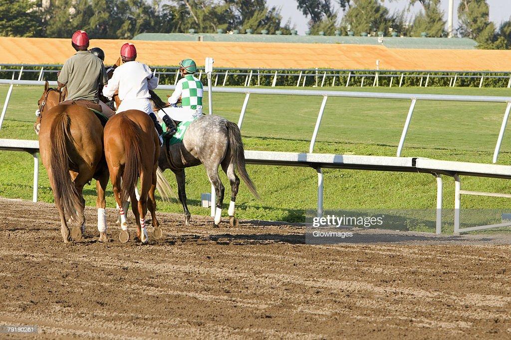 Rear view of four jockeys riding horses on a horseracing track : Stock Photo