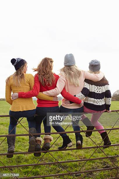 Rear view of four teenage girls sitting on gate