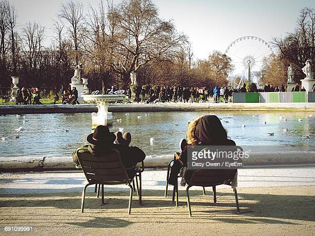 Rear View Of Friends Relaxing By Pond Against People At Place De La Concorde