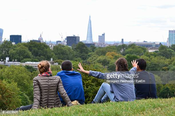 Rear View Of Friends Sitting On Grass In Park Against Sky