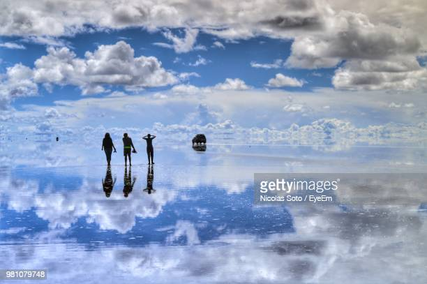 rear view of friends standing on frozen lake with reflection of cloudy sky - ウユニ ストックフォトと画像