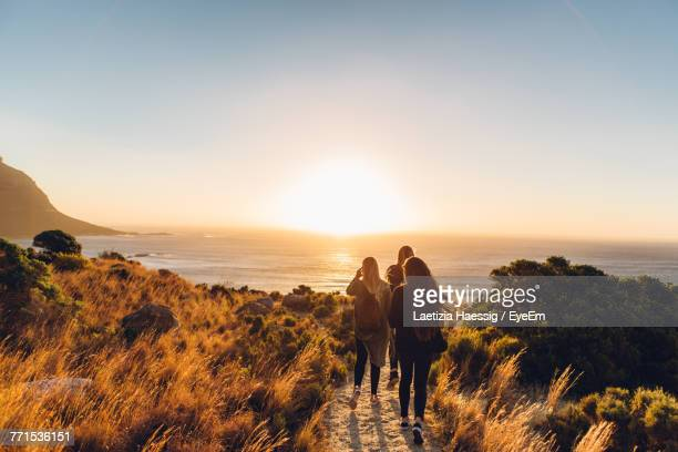 rear view of friends walking at beach against clear sky during sunset - south africa stock pictures, royalty-free photos & images