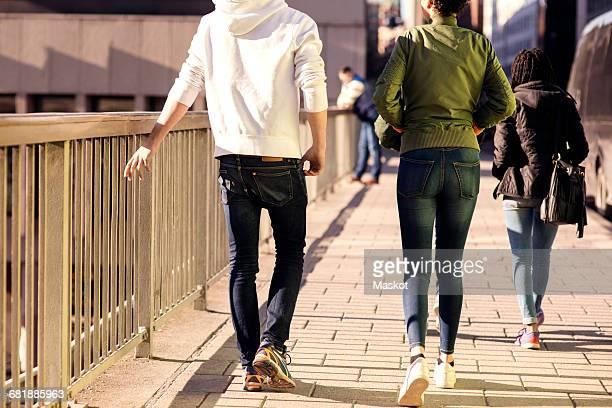 Rear view of friends walking on bridge by railing in city