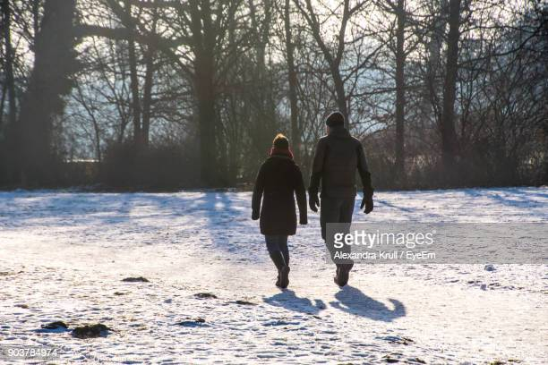 Rear View Of Friends Walking On Snow Covered Field In Forest