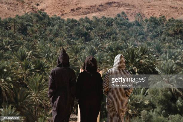 rear view of friends wearing djellabas while standing against palm trees at desert - north africa stock pictures, royalty-free photos & images