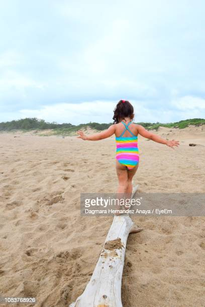 Rear View Of Girl Balancing On Wood At Beach Against Sky