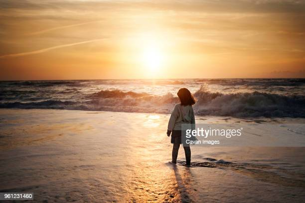 rear view of girl standing on shore at beach against sky during sunset - north carolina stock pictures, royalty-free photos & images