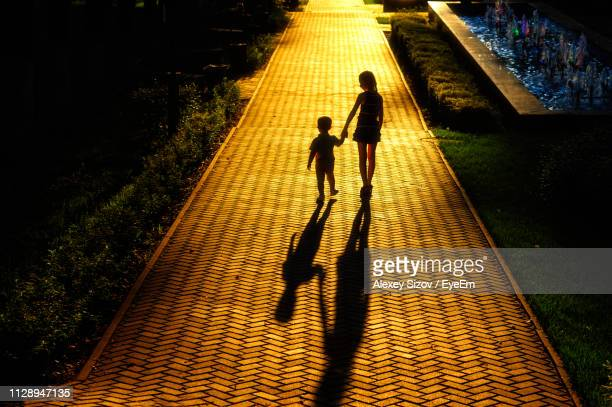 rear view of girl walking with brother on footpath at park - lane sisters stock photos and pictures
