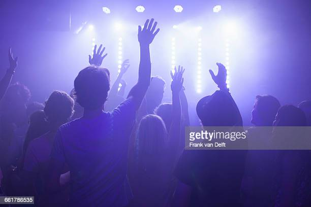 rear view of group in club arms raised watching concert - dry ice stock pictures, royalty-free photos & images