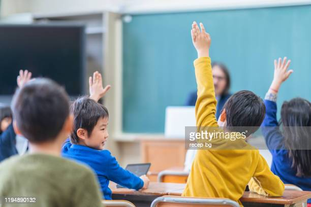 rear view of group of school children while raising their hands - q and a stock pictures, royalty-free photos & images