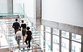 Rear view of group of young businesspeople walking up the stairs.