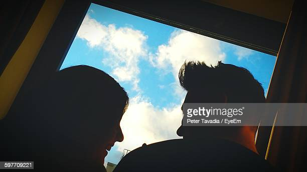 Rear View Of Happy Couple By Window At Home