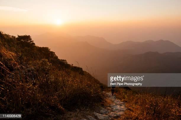 rear view of hiker hiking along trail on lantau peak, lantau island, hong kong, china - lantau stock pictures, royalty-free photos & images