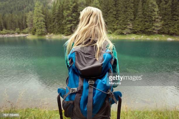 Rear view of hiker looking away at lake, Tirol, Steiermark, Austria, Europe