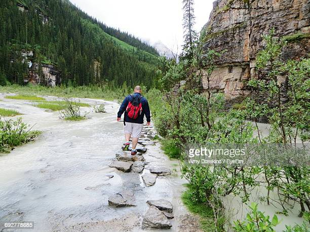 rear view of hiker walking on rocks in stream against mountains - amy chase stock pictures, royalty-free photos & images