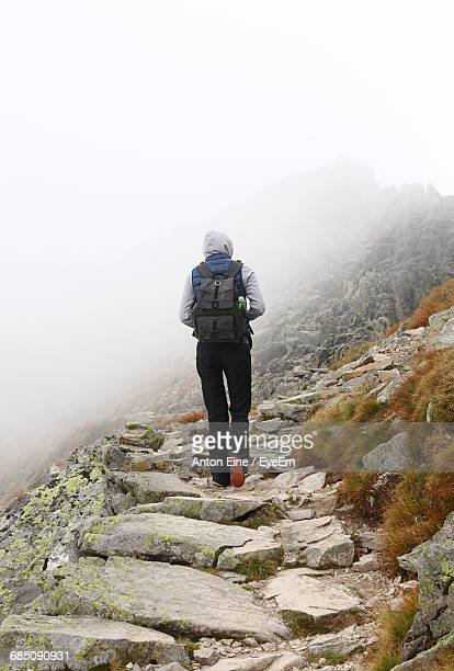 rear view of hiker walking on rocky mountain during foggy weather - eine person stock pictures, royalty-free photos & images