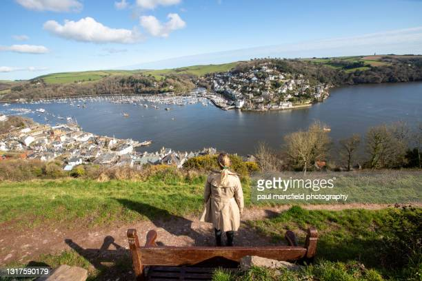 rear view of lady looking at dartmouth - passenger craft stock pictures, royalty-free photos & images