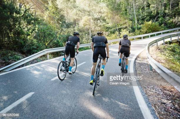 rear view of male friends cycling on road - small group of people stock pictures, royalty-free photos & images