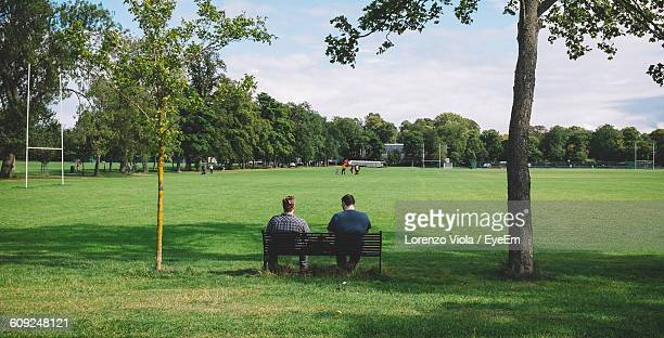 rear view of male friends sitting on bench in park against sky - bench stock pictures, royalty-free photos & images